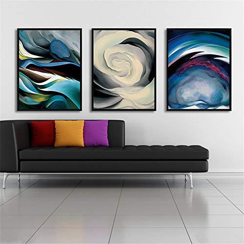 WSNDG Cloud schaduw abstract canvas schilderij moderne minimalistische stijl woonkamer decoratie schilderij drievoudige combinatie schilderij zonder fotolijst 60x80cmx3 A3