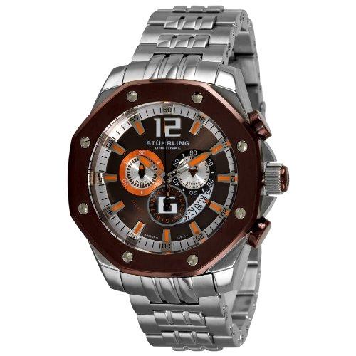 Stuhrling Original Men's 181CR.337184 Nautilus Swiss Quartz Chronograph Brown Dial Watch