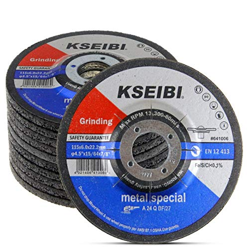 KSEIBI 641006 4-1/2-Inch by 1/4-Inch Metal Stainless Steel INOX Grinding Disc Depressed Center Grind Wheel, 7/8-Inch Arbor, 10-Pack