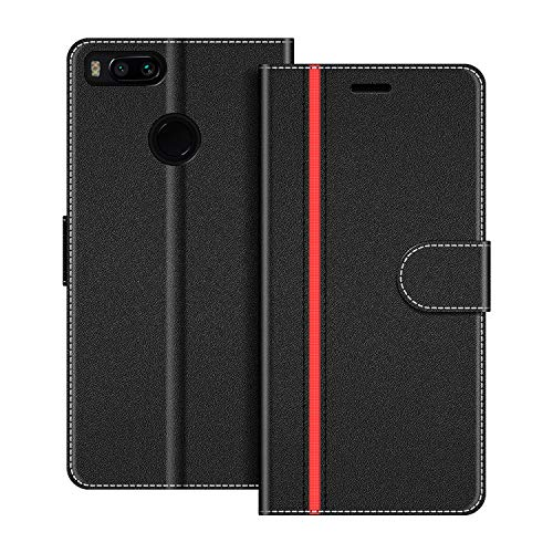 COODIO Funda Xiaomi Mi A1 con Tapa, Funda Movil Xiaomi Mi A1, Funda Libro Xiaomi Mi A1 Carcasa Magnético Funda para Xiaomi Mi A1, Negro/Rojo