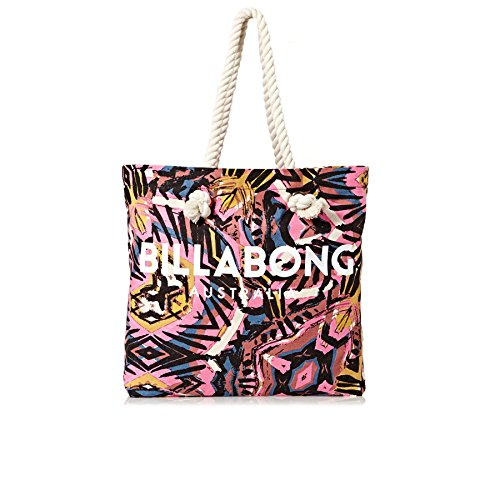 Billabong Essentials Tote Bag Paradise Pink - Große Bedruckte Leinentasche aus Leinen mit Seilgriffen Logo