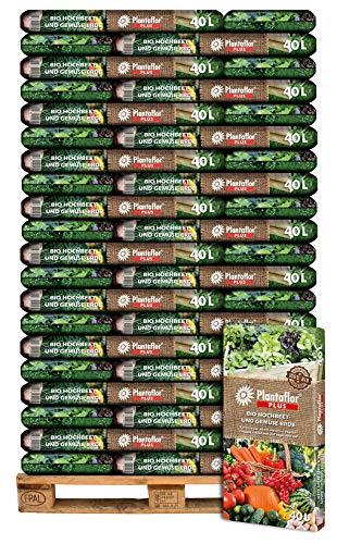 HaGaFe Plantaflor Plus Bio Hochbeeterde Gemüseerde Erde torfreduziert 2400 Liter (60 x 40 L auf Palette)