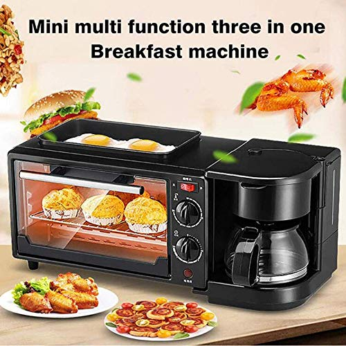 ido 3-in-1 household multifunction breakfast machine, stainless steel mini oven + frying pan + coffee maker, practical use to save time