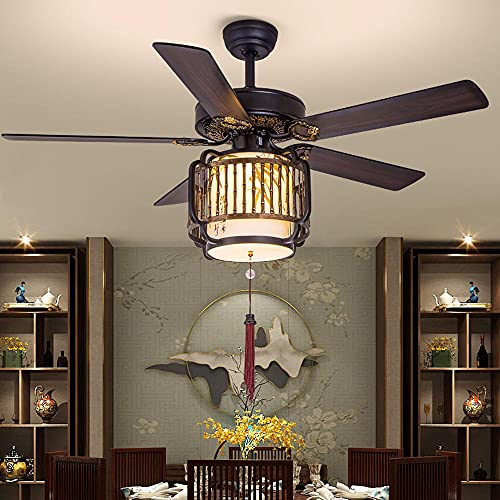 Luz del ventilador de techo de estilo chino, ventilador silencioso de 42 pulgadas regulable para sala de estar, dormitorio, comedor-B Hoja de hierro [Touch Dual Control]