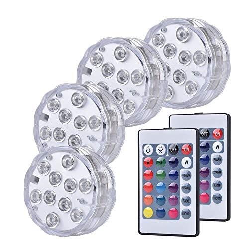 SUNSHIN Luces de SPA para baño de Piscina, Luces para Decoraciones de peceras Luces LED sumergibles, con 2 Controles remotos para Estanque, Fiesta, bañera 4 Paquetes