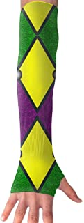 YLGG Mardi Gras Harlequin Sun Protective UV Cover Arm Sleeves-1 Pair Sports Cooling Arm Sleeves