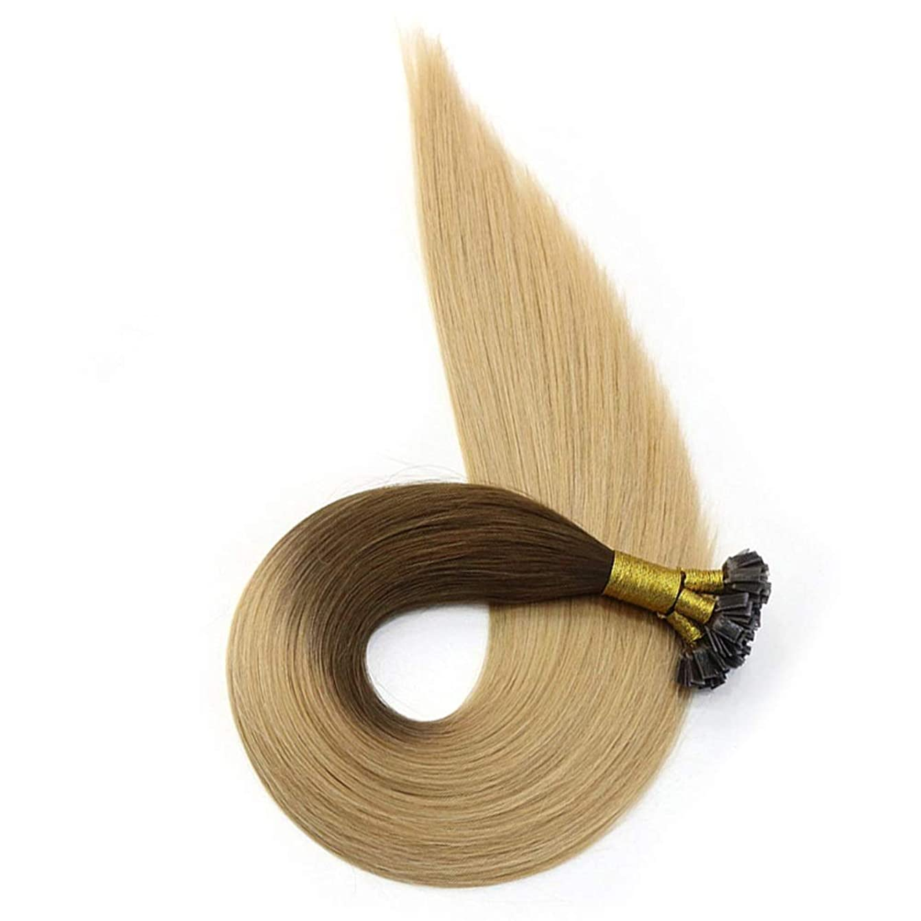 偶然のブレス無臭JULYTER 漂白剤のブロンドカラーのナノリングの毛延長と強調される100%の人間のRemyの毛の不明瞭なブラウン (色 : Blonde, サイズ : 10 inch)