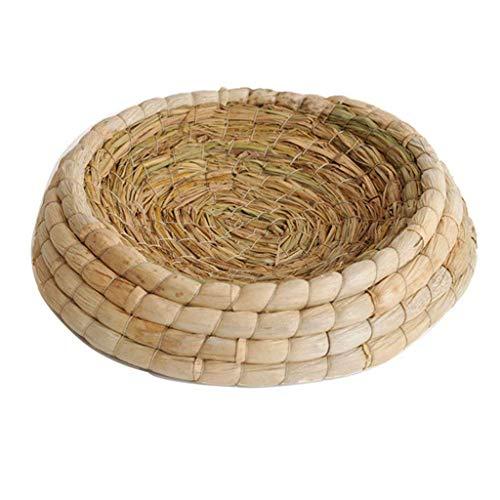 Fransande - Nido de pájaros hecho a mano con hojas de pero e incubación en la cama de paja, pajita, casa de elevación, para paloma, conejo, paloma y chinchillas y cobayas de India.
