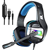 YJY Gaming Headset for PS4 PC Xbox One Controller Noise Cancelling Over Ear Headphones with Mic, LED Light, Bass Surround, Soft Memory Earmuffs for Laptop Mac Nintendo Switch Games (Large)
