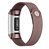 POY Compatible for Fitbit Charge 3/Charge 4 Bands,Replacement Wristbands for Charge 3 SE Fitness Activity Tracker, Metal Stainless Steel Bracelet Strap with Unique Magnet Lock for Women Men Coffee S