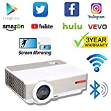 Projector Native 1080p, Android Projector WiFi Bluetooth, 5000 lumens Projector 4K Support, Airplay Miracast DLNA Capatible, for iPhone iPad Tablets Smartphone PC PS4 Xbox, 300' Projection Size