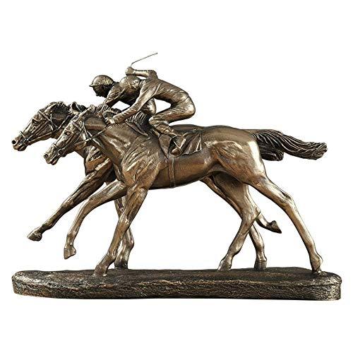 Estatuillas de estatua de decoración del hogar, estatua creativa de carreras de caballos, decoración de estatuilla de animales de cobre fundido en frío, artesanía de resina, accesorios de decoración