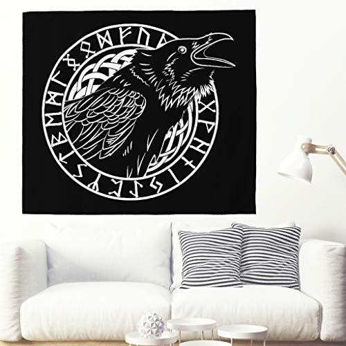 Tapiz étnico con cuervo de runas escandinavas, tótem tradicional, celta, cuervo vikingo, runa vikinga, decoración de pared, decoración de pared, color blanco, 200 x 150 cm