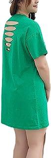 (ミズミス) Ms.Miss レディース プラスサイズ 大きいサイズ 3XL相応 BIGsize ダメージTシャツ Tシャツ 背中セクシー 半袖