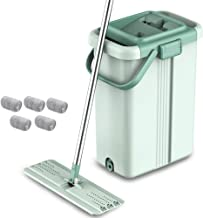 Floor Mop Hand-Free Mopping Artifacts Rotating Household Poles Wet and Dry Microfibre Flat Mop for Floor and Home Cleaning