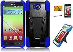 LF 4 in 1 Bundle Accessory - Blue Black Hybrid Dual Layer Case with Stand, Stylus, Screen Protector & Wiper for (T-Mobil, MetroPCS) LG Optimus L90 (Stand Black/Blue)
