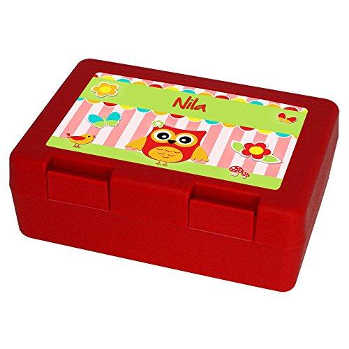 Brotdose mit Namen Nila und schönem Eulen-Motiv für Mädchen, rot - Brotbox - Vesperdose - Vesperbox - Brotzeitdose mit Vornamen
