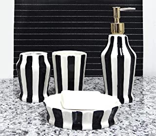 ACK Tuscany Embossed Hand Painted Ceramic, 4-Piece Bathroom Accessories, Soap Dispenser, Toothbrush Holder, Toothbrush Cup, Soap Dish (Striped Black)