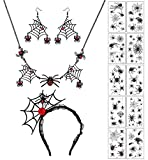 Finrezio 13PCS Halloween Spider Necklace Earring Set for Women Black Spider Web Pendant Choker Adjustable Cosplay Dangle Earring Hair Hoop Temporary Tattoos Steampunk Costume Party