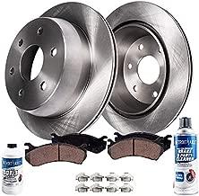 Detroit Axle - Pair (2) Rear Disc Brake Kit Rotors w/Ceramic Pads w/Hardware & Brake Kit Cleaner & Fluid - 3/4
