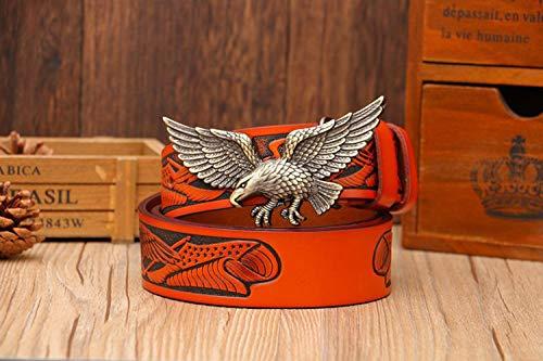 WeeLion Gurt der Männer, kreativ Adler Bronzeplatte Schnalle, Retro-Mode-Trend Band (Länge 110cm-130cm),Messing,130cm