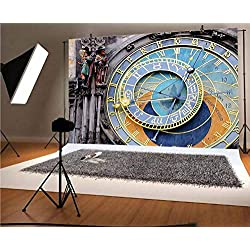 Clock 12x10 FT Vinyl Photography Background Backdrops,Prague Astronomical Clock in The Old Town an European Medieval Landmark of City Background for Photo Backdrop Studio Props Photo Backdrop Wall