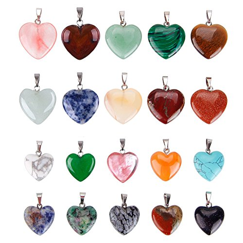 Keyzone 20 Pieces Heart Shaped Stone Pendants Charms Crystal Chakra Beads for DIY Necklace Jewelry Making, 2 Sizes, Assorted Color