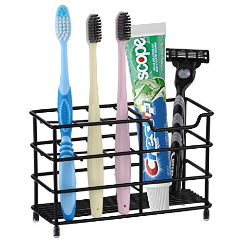 Toothbrush Holder Stainless Steel Tooth Brush Holder for Bathroom MultiFunctional 7 Slots for Toothpaste Razor Stand Bathroom Organizer Countertop  Black