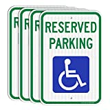 Reserved Parking Signs (4 Pack), Handicap Parking Sign, with Picture of Wheelchair Sign, 18 x 12 Engineer Grade Reflective Sheeting Rust Free Aluminum, Weather Resistant, Waterproof, Durable Ink