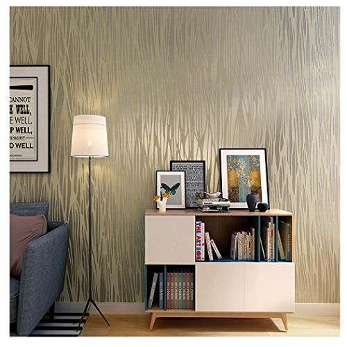 Blooming Wall:Non-Woven Classic Plain Stripe Moonlight Forest Wallpaper,20.8 In32.8 Ft=57 Sq ft Per Roll (Light Gold)
