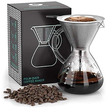 """Coffee Gator Cafetera de goteo""""Pour Over"""" manual con filtro de café permanente de acero inoxidable y jarra. (800ml)"""