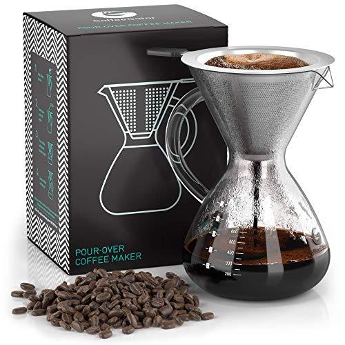 Coffee Gator Pour Over Kaffeebrüher – Mehr Geschmack mit einem papierlosen Edelstahlfilter und einer Glaskaraffe – Manueller Drip Kaffeebereiter – 800 ml