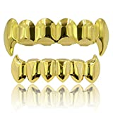 JINAO Face 18K Gold Silver Plated Hip Hop Vampire Fangs Top Bottom Teeth Grillz Set for Men and Women (Gold Grillz)
