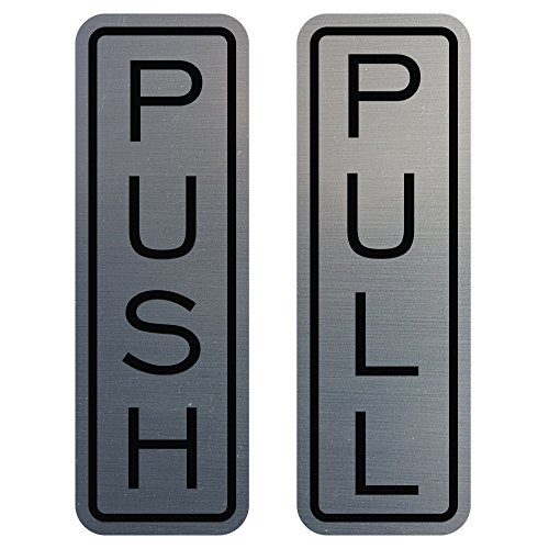 All Quality Classic Vertical Push Pull Door Sign (Brushed Silver) - Medium
