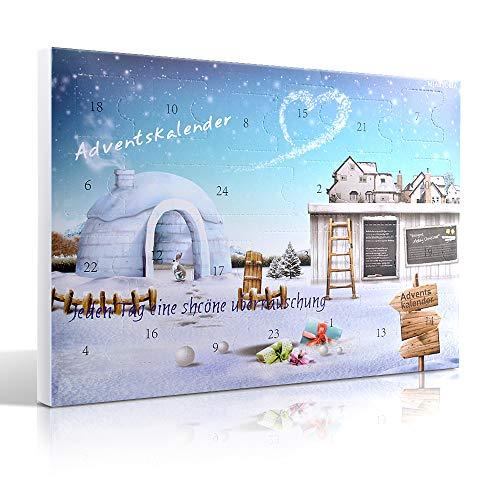 MJARTORIA Weihnachtskalender Adventskalender Damen Kinder mit 24 Überraschungen Xmas Modeschmuck Click-Buttons Armband Halskette Ring Weinglas Marker (Blue)