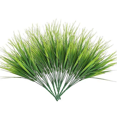 Hwceo - Juego de 8 plantas artificiales para decoración del hogar, soporte de imitación verde, accesorios de aspecto real, hierba de trigo para mesa al aire libre, decoración interior, granja, patio, oficina, plantación, fondo, estanque