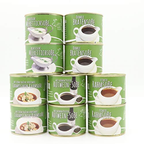 Diem Soßen Paket , Probierpaket - Soßenklassiker - Rahmsoße, Bratensoße, Meerrettich-Soße, Champignon-Rahm-Soße, Rotwein-Soße mit grünem Pfeffer / 10 x 200g Konserve