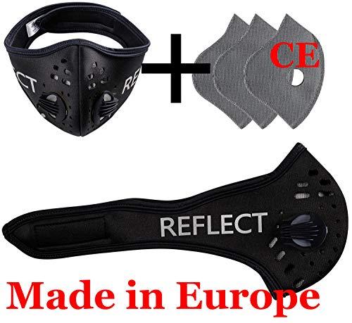 4sold - Set maschera viso/maschera antipolvere, 3 filtri con 5 strati per filtro, unisex, maschere per corsa, polvere, ciclismo, riflettente, maschera di sicurezza per esterni, conformità CE, nero