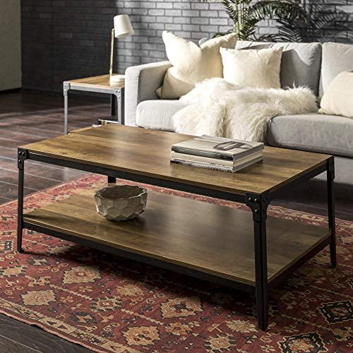 Best Walker Edison Furniture Company Rustic Farmhouse Rectangle Wood and Metal Frame Coffee Accent Table