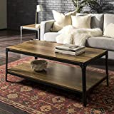 Walker Edison Furniture Company Rustic Farmhouse Rectangle Wood and Metal Frame Coffee Accent Table Living Room 2 Tier Storage Shelf, 46 inch, Reclaimed Barnwood