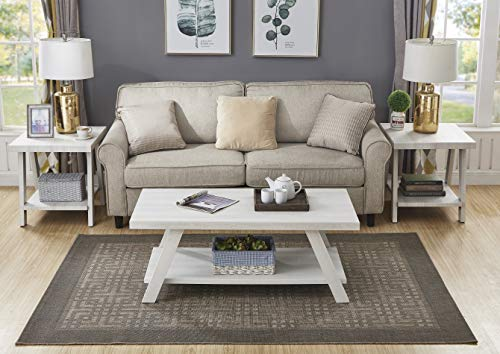 Roundhill Furniture Athens Contemporary Wood Shelf Coffee Table Set, White