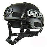 Casco de protección Airsoft, MICH 2001 Action Version Casco táctico militar | Protector de cabeza de paintball Airsoft Gear Unisex con soporte NVG y rieles laterales para juego CS exterior