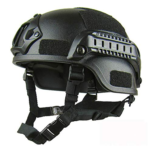 Casco de protección Airsoft, MICH 2001 Action Version Casco táctico militar   Protector de cabeza de paintball Airsoft Gear Unisex con soporte NVG y rieles laterales para juego CS exterior