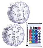 LED sommergibili con telecomando 2 pezzi, Alilimall impermeabile lampada multi colori per piscine,...