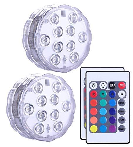 Unterwasser Licht mit Fernbedienung 2 Stücke, Alilimall RGB Multi Farbwechsel Wasserdichte LED Leuchten für Vase Base, Floral, Aquarium, Teich, Hochzeit, Halloween, Party, Weihnachten