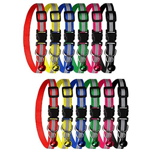 Haokey 12 Stücke Katzenhalsband mit Glocke, Verstellbar Katzenhalsband Reflektierende Schnellverschluss Halsband in 6 Katzen oder kleine Hunde