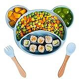 Kaimeilai Assiette à pour Bébé Silicone, 3 PCS Ventouse Assiette Antidérapante Bébé Sans BPA, Assiette Ventouse pour Enfant en Silicone avec Compartiments, Bébé Placemats avec Fourchette Cuillere Bleu