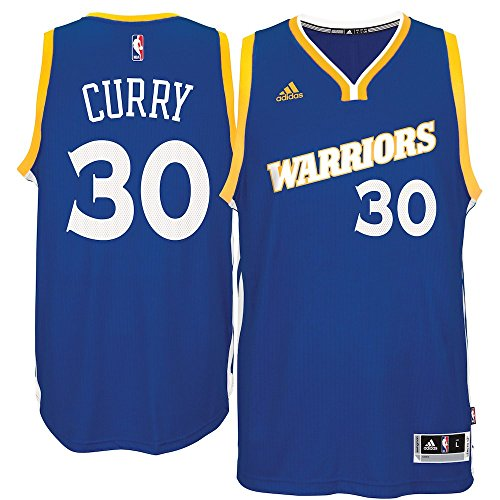 adidas Stephen Curry Golden State Warriors Stretch Swingman Jersey (Royal, Large)