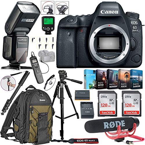 Canon EOS 6D Mark II DSLR Camera (Body Only) Bundle Includes 2X 128GB Memory, TTL Auto Flash, Canon Backpack, Rode Microphone, Time Remote with LCD, Photo/Video Software Package & More