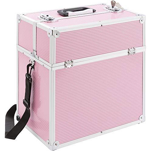 Arebos Kosmetikkoffer Beauty Make-up Case 26 l/Aluminium/Ausziehfäher auf beiden Seiten Pink